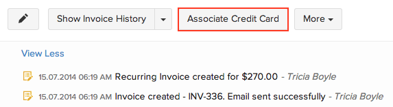 Associating Card Recurring Invoice