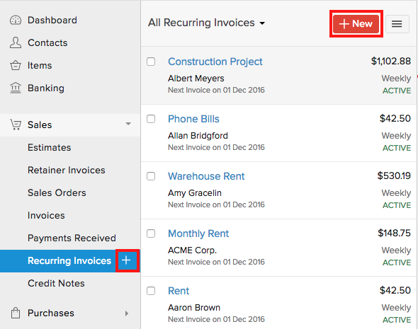 Creating New Recurring Invoice
