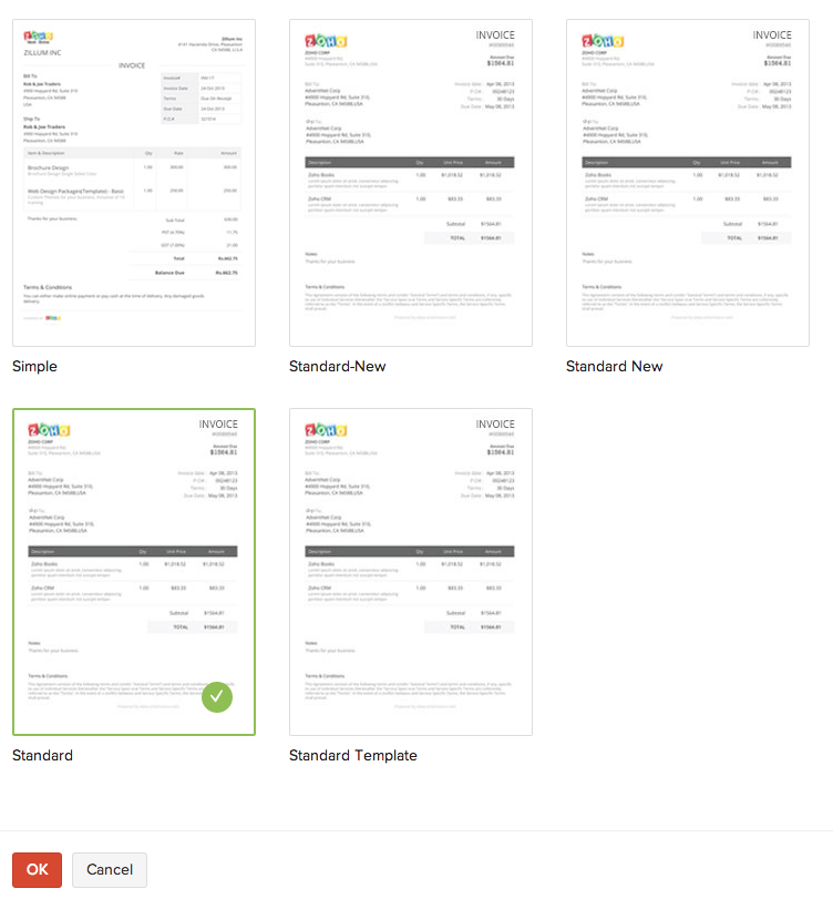 recurring invoices | user guide | zoho books, Invoice templates