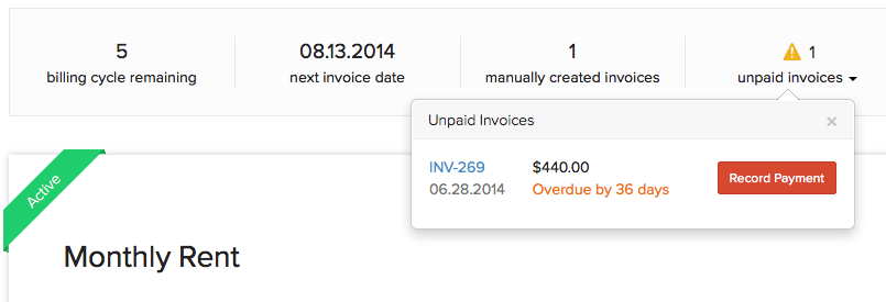Unpaid invoice record payment