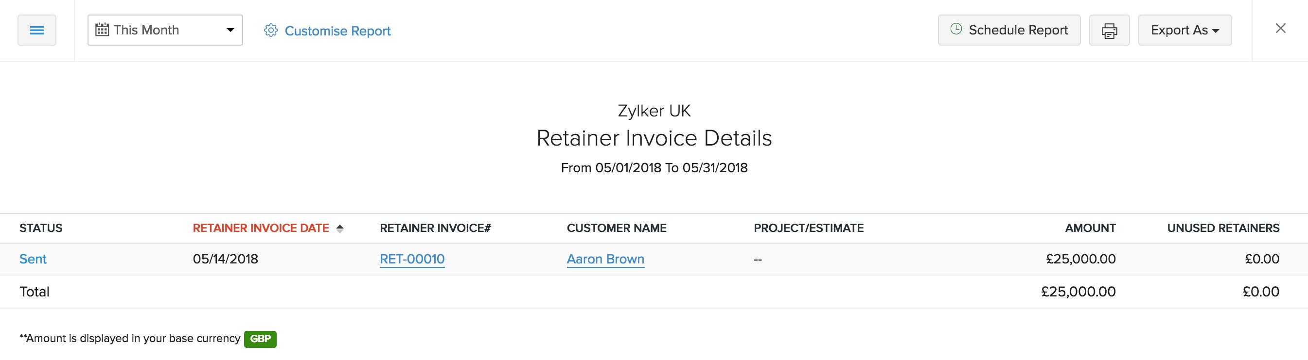 Retainer Invoice Detail