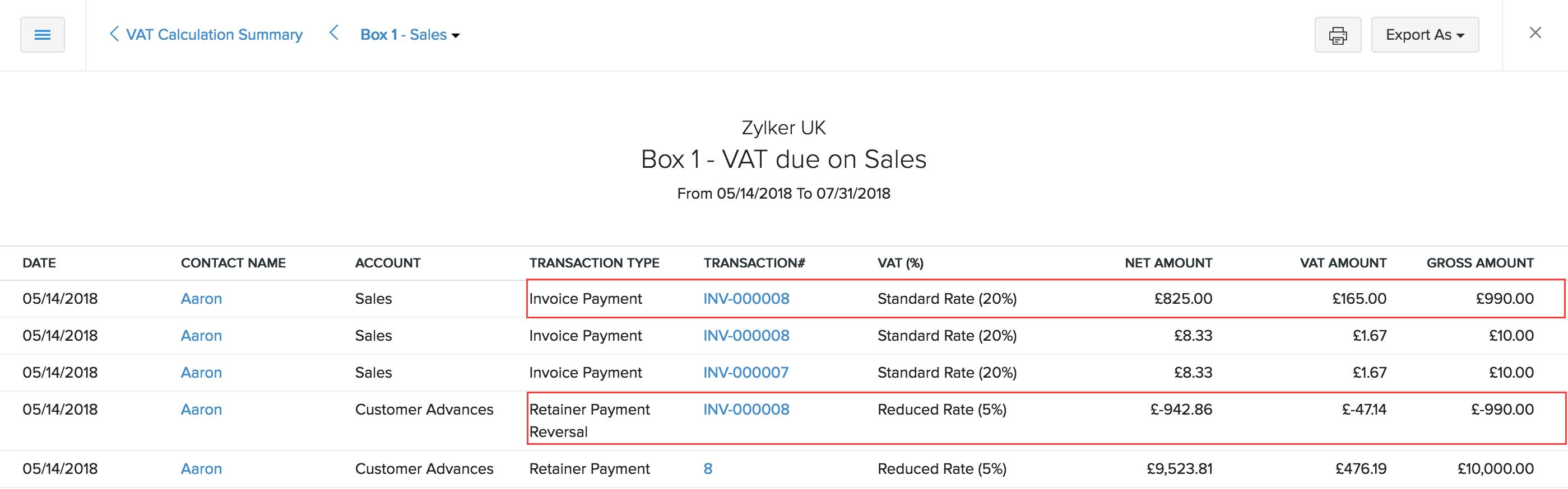 VAT Calculation Summary