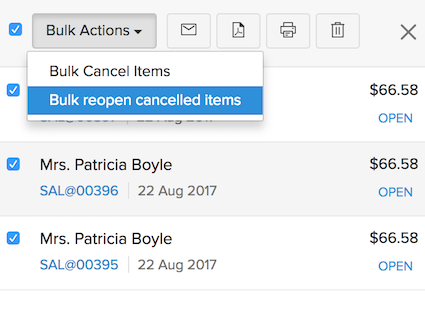 Bulk reopen Items