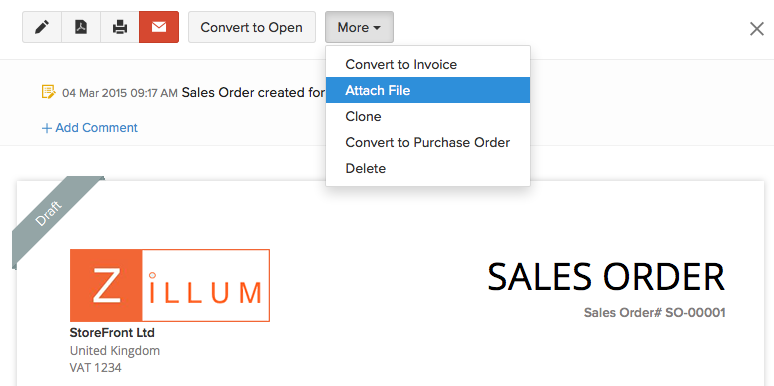 Attaching a file to sales order