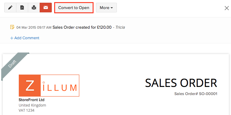 Converting sales order to open