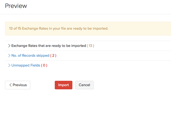 Currency - Import preview