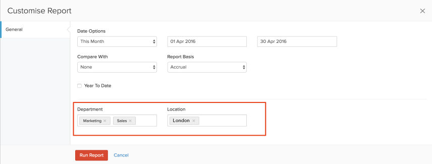 Customize Report Tags
