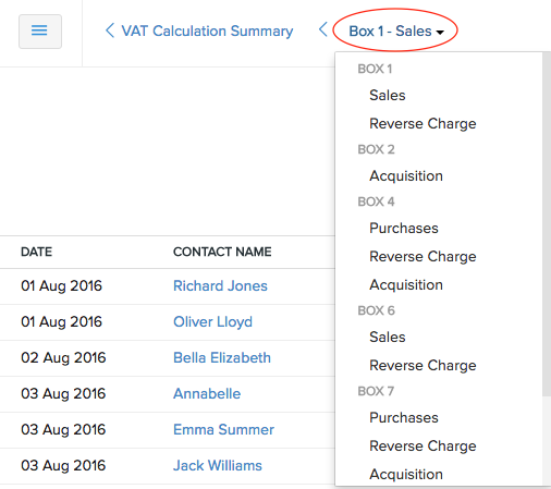 VAT Calculation Summary - navigation