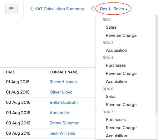 VAT Calculation Summary - navigation