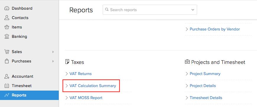 VAT Calculation Summary - Reports