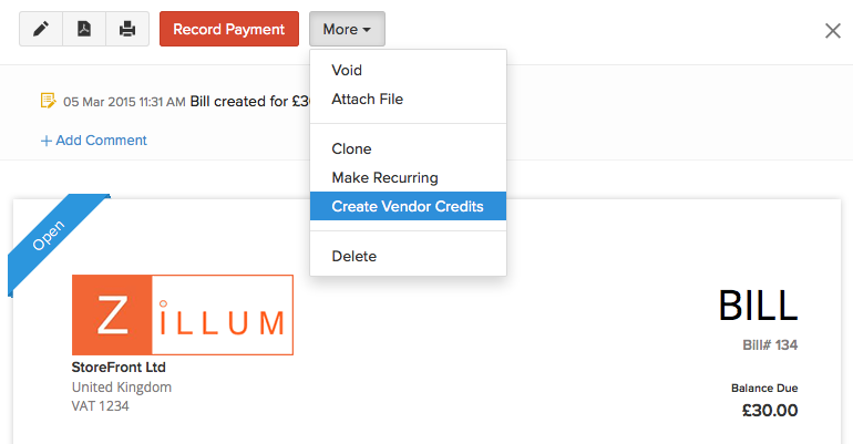 Creating a vendor credit