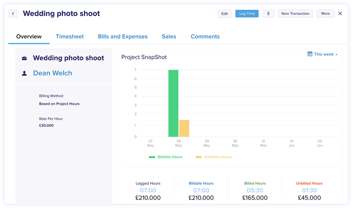 Project Time Tracking - Zoho Books