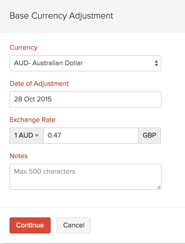 Convert foreign currency into base currency