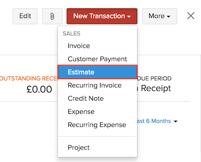 Creating Estimate from a contact