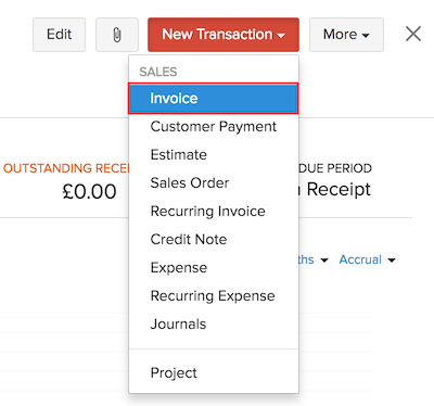 Creating a new invoice from a contact