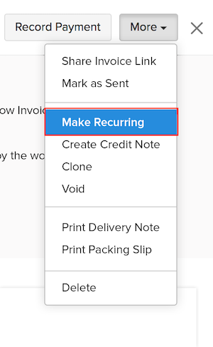 Making an invoice recurring