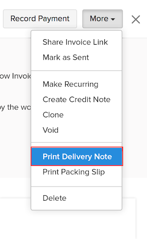 Printing a Delivery Note