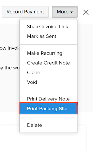 Printing a Packing Slip