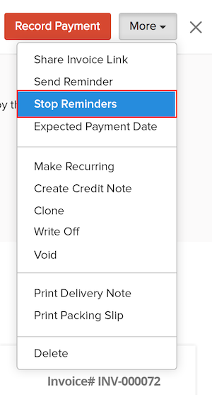 Stop Reminders for an invoice