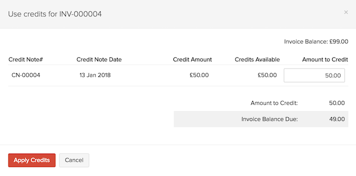 Applying Credits to an invoice