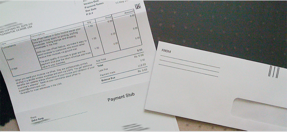 Snail Mail Sample invoice