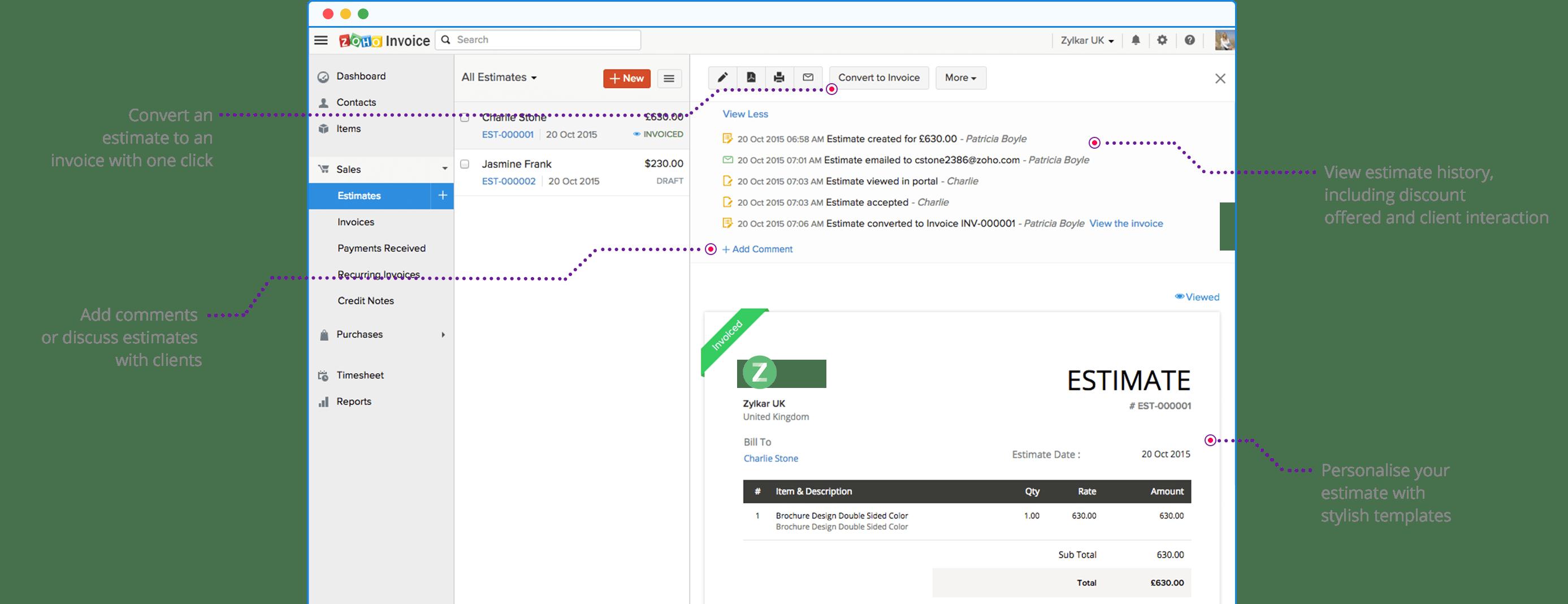 Create Professional Estimates with Ease - Zoho Invoice