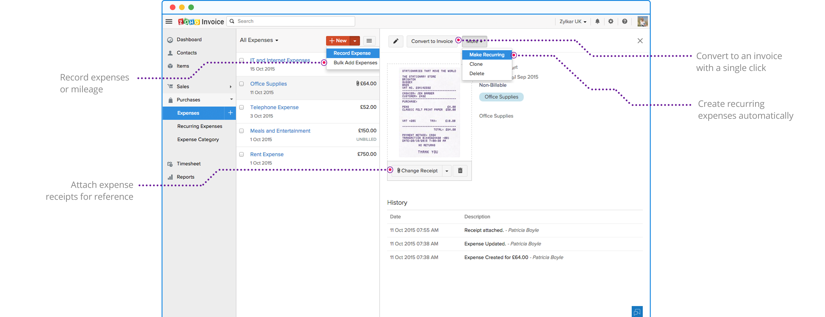 Record and Track Expenses - Zoho Invoice