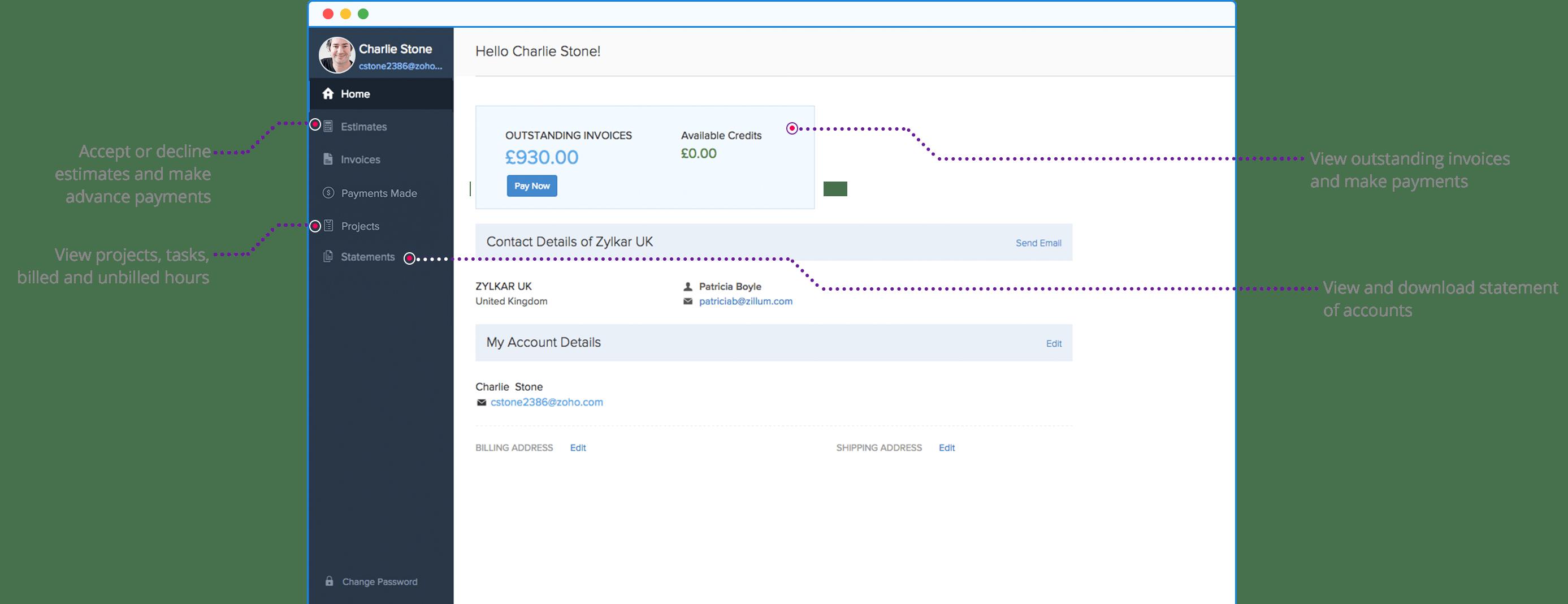 Online Client Portal - Zoho Invoice