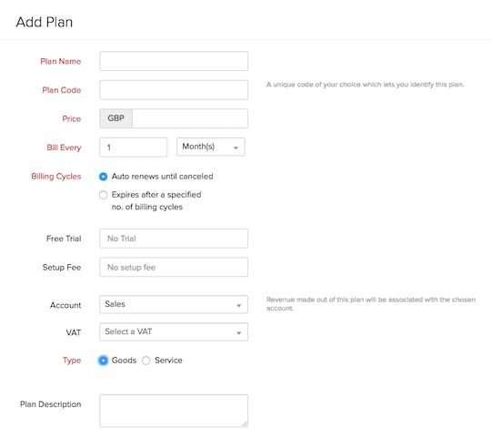 New plan form