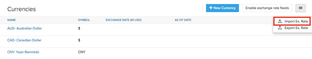 Import Exchange Rate