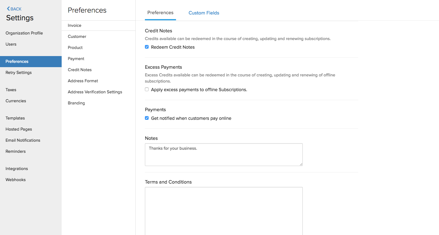 Preference Invoice Settings 2