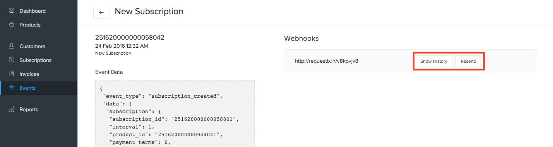 Resending a webhook