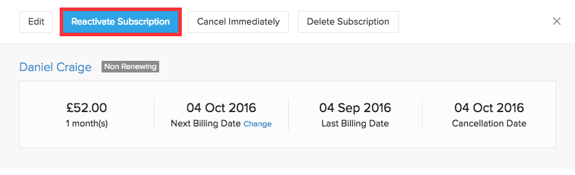 Reactivate cancelled subscription before term ends