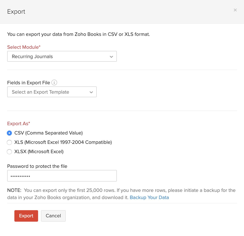 Export Recurring Journals