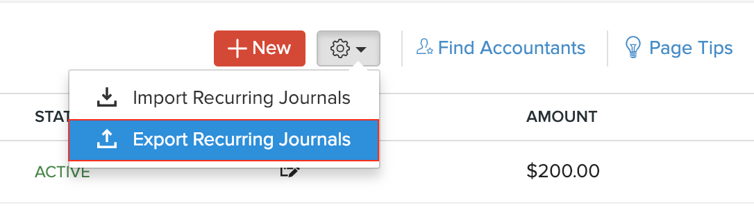 Select Export Recurring Journals