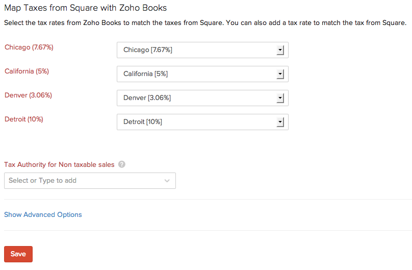 Tax mapping for Zoho Books with Square