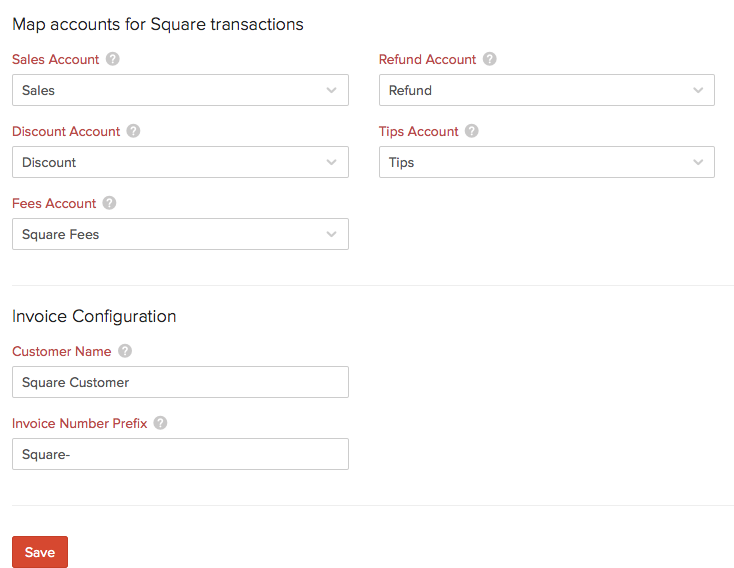 Accounts to track from Square