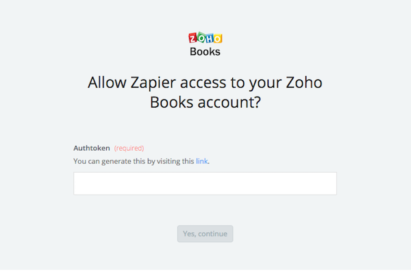 Zapier authtoken