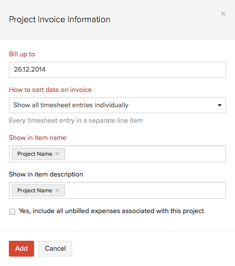 Creating Invoice from Project