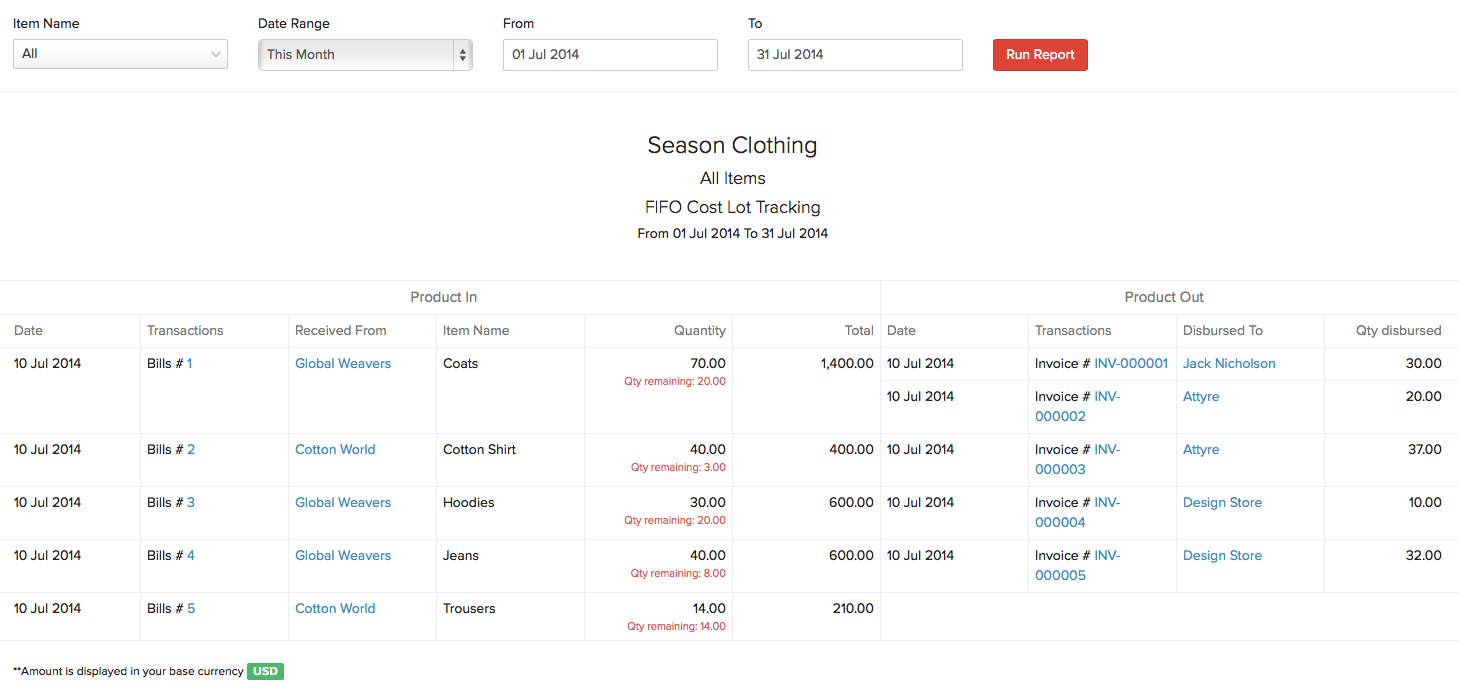 Inventory FIFO Cost Lot Tracking