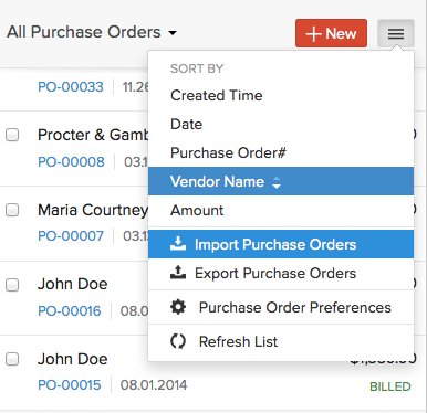 Import purchase orders