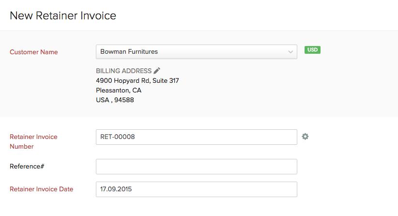 retainer invoices, Invoice examples