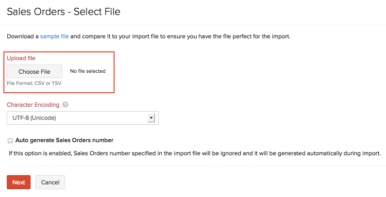 Select file to import