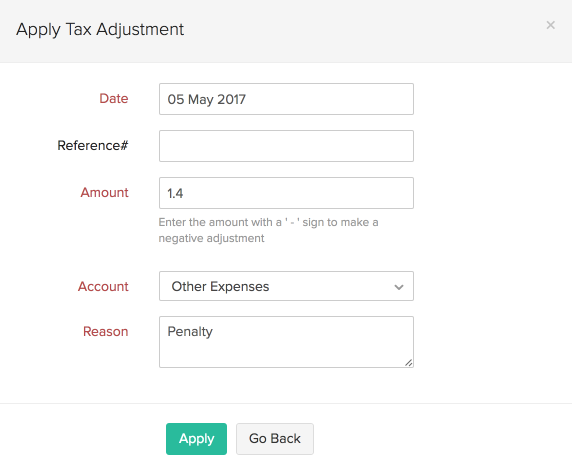 Apply tax adjustment