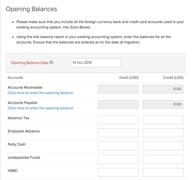 Opening Balance