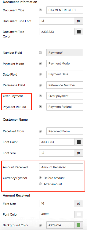 Payment Receipts Specific