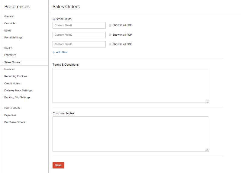 Sales Order Preferences