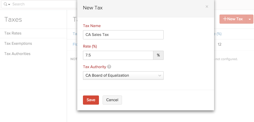 Add taxes in Zoho Books