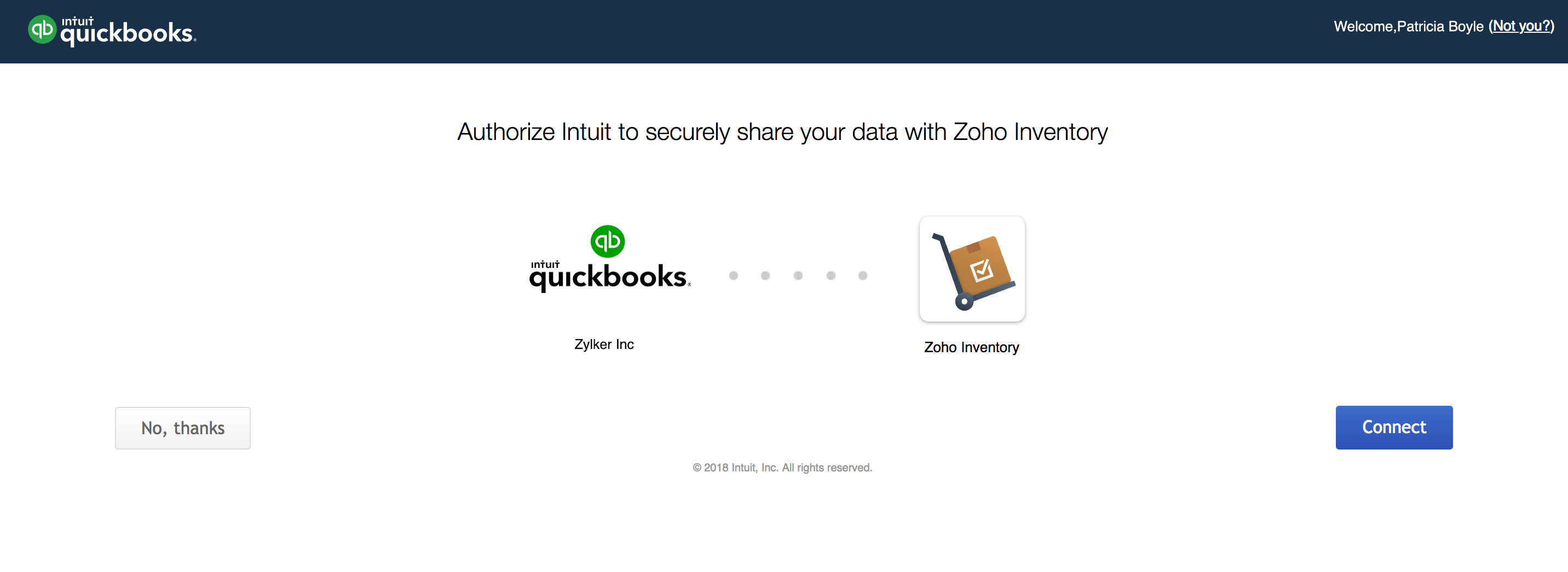 connect qbo to zoho inventory