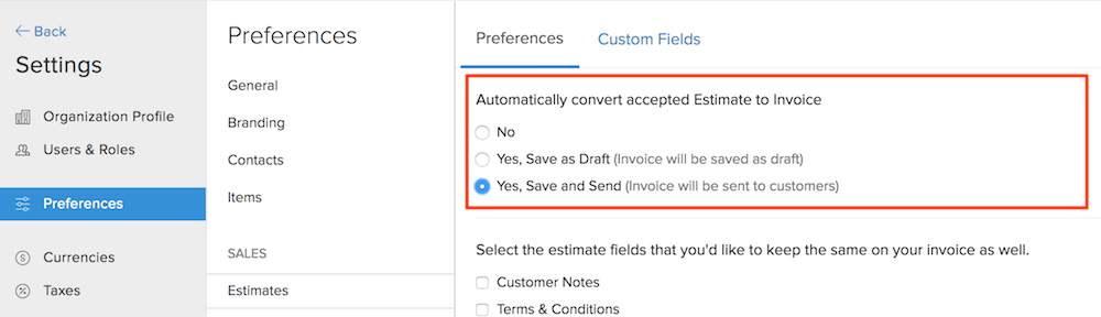 Convert Estimate Preferences